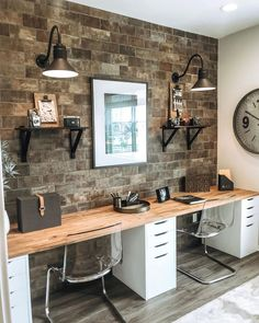 We have been seeing a lot of office designs lately with butcher block as the desktop resting on top of filing cabinets. Basement Home Office, Home Office Space, Home Office Design, Home Office Decor, Office Designs, House Design, Home Decor, Office Ideas, Design Design