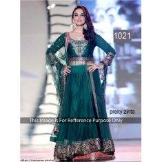 Bollywood Replica - Preity Zinta Beautiful In Long Dark Green Gown - 1021 (CM-Vol-1)