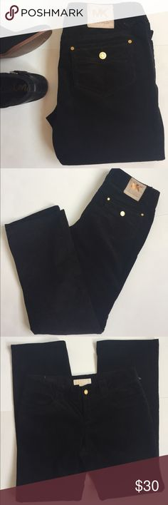 "Michael Kors Black Cord Michael Kors Black Cord pair. Gold plated hardware. MK signature logo patch on back pocket. 4 pocket style. New without tags. 30"" inseam. About 8"" leg opening. Excellent like new condition. Michael Kors Pants Straight Leg"