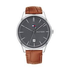 29df8c00e43 Grey Dress Watch With Leather Strap by Tommy Hilfiger