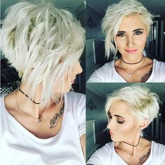 Platinum Blonde Asymmetrical Wavy Pixie: Messy, Layers