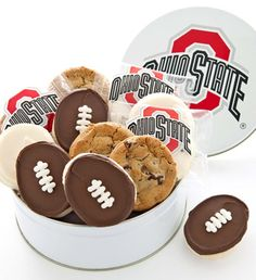 """Perfect for serving treats at your next tailgate party! Our serving bowl is made of durable, high quality plastic and measures x 10 """" x We've also included a tasty assortment of 24 of Cheryl's gourmet cookies including our hand decorated football cookies. Ohio State Gifts, Ohio State Buckeyes, Football Cookies, Football Football, Gourmet Cookies, Tin Gifts, Party Time, Serving Bowls, Tasty"""