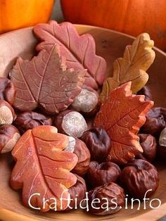 Leaves made of plaster of paris and candy molds...