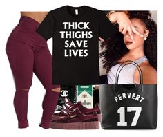 """thick thighs save lives"" by wavyjai ❤ liked on Polyvore featuring Givenchy and Puma"