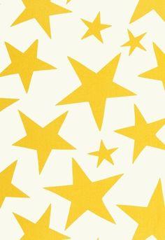 star print in sunshine from Lulu deKwiatkowski's new line of children's fabrics for Schumacher