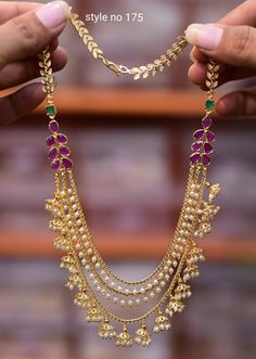 Gorgeous one gram gold long haaram with triple layer gundla haaram. Gold Chain Design, Gold Jewellery Design, Gold Jewelry, Beaded Jewelry, Wedding Jewelry, Wedding Jewellery Collections, Gold Earrings Designs, Fashion Jewelry, Jewelry Collection