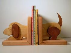 Wooden Dog Bookends Pair Book Ends by WoodZProducts on Etsy, $19.95