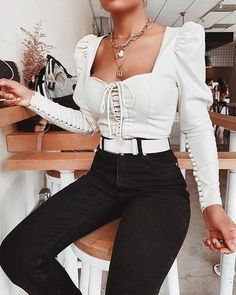 Apr 2020 - White Long Sleeve Bustier Top – isabelromance Trend Fashion, Look Fashion, Trendy Outfits, Cute Outfits, Fashion Outfits, Ropa Shabby Chic, Paris Mode, Looks Black, Collar Top