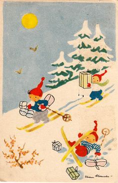 #vintage #postcard #illustration by #Iben #Clante #elves #gnomes #winter #snow