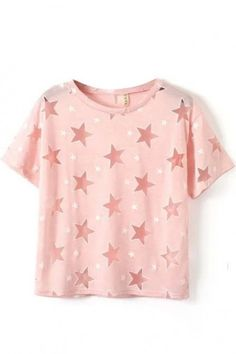 LUCLUC Pink Star Printed T-Shirt