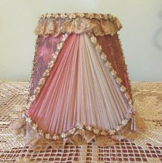 Boudoir Lampshade Ombre Silk And Lace Ribbon Rosettes Ribbon Rosettes, Lace Ribbon, Pink Silk, Pale Pink, Flapper Era, Silk Chiffon, Vintage Metal, Silk Fabric, 1920s