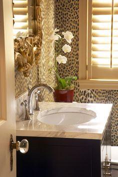Modern Bathroom Features Leopard Print Wallpaper. Via Wall Mural Gallery.