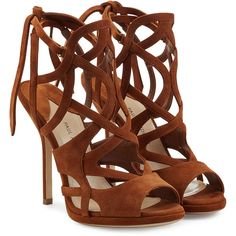 Paul Andrew Ella Suede Sandals (€795) ❤ liked on Polyvore featuring shoes, sandals, heels, scarpe, brown, ankle wrap sandals, ankle tie sandals, heeled sandals, ankle strap heel sandals and strappy sandals