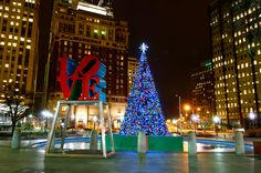 City Hall Christmas tree at Love Park in Philadelphia