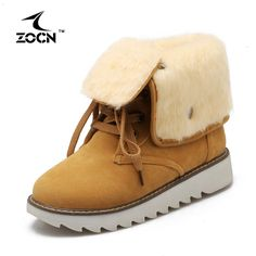 ZOCN Women Snow Boots Winter Ankle Boots Plus Size High Quality Cheap Shoes 2016 Fashion Shaped Heel Winter Boots Fashion Shoes