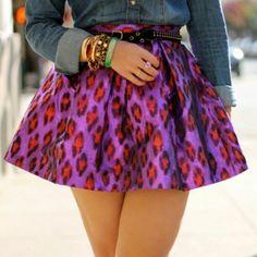 Leopard pink + purple skirt