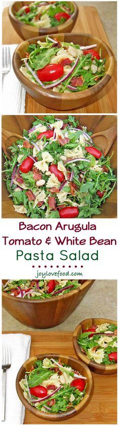 Bacon Arugula Tomato and White Bean Pasta Salad