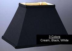 "Black Tapered Silk Rectangular Lamp Shade 4.5/6.5""x9/12""x9""; 5/7""x10/14""x10""; 6/8""x11-16""x11""; 7/9""x12/18""x12"""