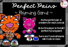 Perfect Pairs Rhyming Game Rhyming Activities, Literacy Games, Face Down, Cat Boarding, Cool Cats, Pairs, Cool Stuff