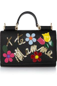 Dolce & Gabbana Sicily appliquéd embellished textured-leather phone bag   NET-A-PORTER