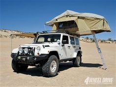 The forth Mopar-prepped concept to be exhibited at the SEMA Show next month is the Jeep Wrangler Overland. Based on the 2009 Jeep Wrangler . Jeep Wrangler Unlimited, 2009 Jeep Wrangler, Dodge, Mopar Jeep, Jeep Jku, Jeep Camping, Jeep Tent, Car Tent, Motorcycle Camping