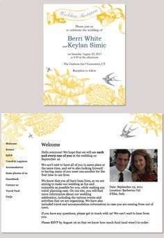 SUPER cute vintage-style yellow and grey flora and fauna invitation design from our sponsor @Glö (glosite.com)