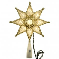 10 In Light Crystal 8 Point Clear Star Tree Topper With Clear Bulbs 97011014