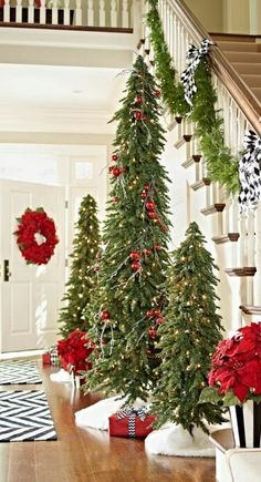 Great idea for the library. Our magnificent Down-swept Slim Pine Christmas Tree is such a space-saving wonder, 3 trees approximate the footprint of just a single standard-sized tree. Pine Christmas Tree, Noel Christmas, Primitive Christmas, Winter Christmas, Christmas Crafts, Country Christmas Trees, Christmas Vignette, Pencil Christmas Tree, Christmas Lights