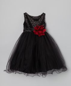 Black Sequin Overlay A-Line Dress - Infant, Toddler & Girls | zulily