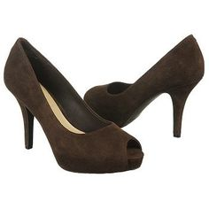 Rockport Sasha Bow Peep Pump Shoes (Dark Brown Suede) - Women's Shoes - 11.0 M