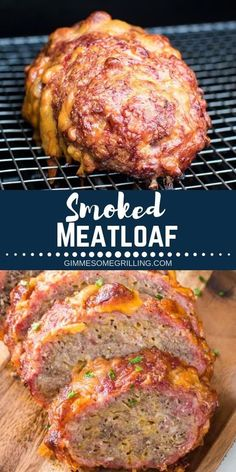 Have you tried a Meatloaf on your smoker yet? This Traeger Meatloaf has amazing flavor and is so easy you can make it to entertain or for dinner! It even has cheese in it! It& a fun way to make a traditional meatloaf to give it a new flavor twist. Smoker Grill Recipes, Smoker Cooking, Grilling Recipes, Electric Smoker Recipes, Cooking Wine, Bbq And Smoker, Barbecue Meatloaf Recipes, Recipes For The Grill, Food Smoker