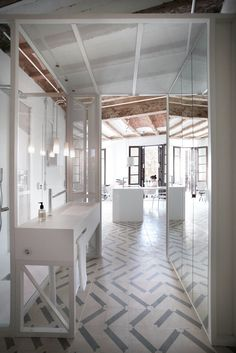 Bath Room, Pendant Lighting, Drop In Sink, and Ceramic Tile Floor Top 5 Homes of the Week That Take Minimalism to the Max - Photo 3 of 5 -