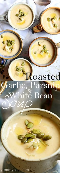 Roasted Garlic, Parsnip & White Bean Soup. 4-6 extra large cloves garlic,1lb parsnips (about 4), 1 onion, EVOO, rosemary, 2 cups cooked white beans, veg broth, pumpkin seeds