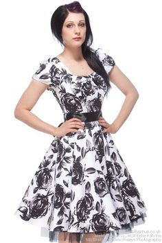 White Cotton Vintage Dress with Black Roses