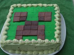 Cool Minecraft Creeper Cake... This website is the Pinterest of birthday cake ideas