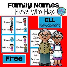 A free ESL Game to help your newcomers learn family vocabulary! Hope that you enjoy it! Social Studies Activities, Spelling Activities, Vocabulary Activities, Teaching Activities, Vocabulary Strategies, Listening Activities, Classroom Activities, Teaching Ideas, Bilingual Classroom