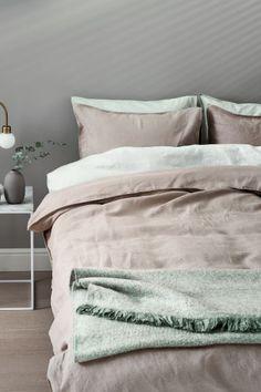 Постельное белье, стираный лен - Серо-бежевый - HOME | H&M RU 1