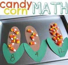 C for Candy Corn Math cute halloween math for preschool or kindergarten Thanksgiving Preschool, Fall Preschool, Kindergarten Math, Preschool Activities, Corn Thanksgiving, Kindergarten Projects, Montessori Preschool, Montessori Elementary, Counting Activities