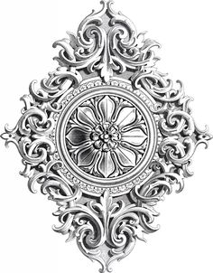 Amazing Antique Rosette Scrolls Ornament! - The Graphics Fairy
