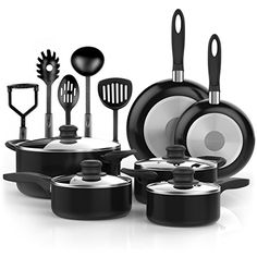 Vremi 15 Piece Nonstick Cookware Set - Kitchen Pots and Pans Set Nonstick with Cooking Utensils - Non Stick Cookware Set PTFE and PFOA Free Oven Safe Basics Pots and Pans - Black. For product info go to:  https://all4hiking.com/products/vremi-15-piece-nonstick-cookware-set-kitchen-pots-and-pans-set-nonstick-with-cooking-utensils-non-stick-cookware-set-ptfe-and-pfoa-free-oven-safe-basics-pots-and-pans-black/