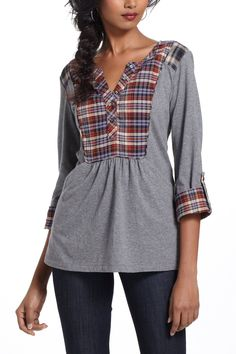 Plaid Placket Henley - Anthropologie.com