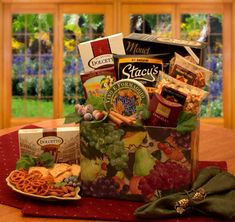 """SAY """"THANK YOU"""" in a unique way with the BISTRO GOURMET - 11 x 8 x 9 http://www.extraspecialbaskets.com   The best in sweet and savory delights and nestle them in a gorgeous and vibrant gift box tied up with a stunning ribbon.   Gourmet Fruit Gift Box Measures w/  California smoked almonds;   Stacy's Parmesan pita chips;   Dolcetto cream filled pirrouline cookies;   French chocolate truffles; crunchy caramel corn; cheddar cheese pretzels; & pepper crackers. Join LBB Savers Program for 20%…"""