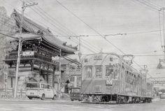"""コッペ@コミティアう-40bさんのツイート: """"新作の鉛筆画が出来ました。今回は太秦広隆寺の隣を走る嵐電です。… """" Trains, Louvre, Twitter, Building, Buildings, Construction, Train"""