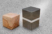 Bollards in leather finishing granite stones