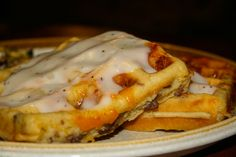 Sausage and cheese waffles with waffle gravy