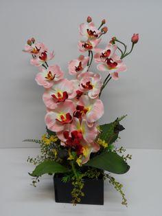 Orchid Arrangement, Pink Colored Orchid Arrangement, Elegant Orchid Arrangement…