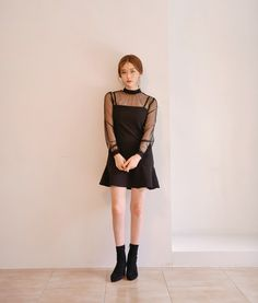 All Black Fashion, Asian Fashion, Korean Style, High Neck Dress, Ootd, Woman, Girls, Outfits, Clothes