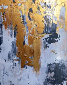 Abstract Painting Gold White and Grey by JenniferFlanniganart