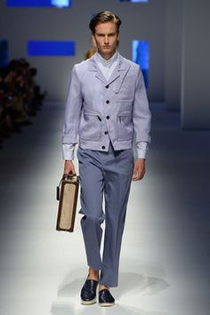 Pure silk organza jacket, pants with removable fabric belt, crocodile espadrilles and briefcase with contrast stripe