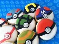 Pokemon Cupcakes, Pokemon Birthday Cake, Birthday Cookies, Diy Cookie Cutter, Cookie Favors, Pokemon Shop, Pokemon Party Decorations, Kawaii Dessert, 6th Birthday Parties